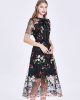 Pinched waist temperament gauze floral long dress