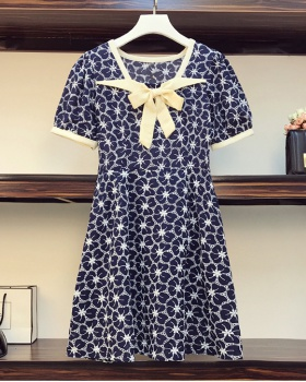 Retro hollow embroidery summer large yard fat dress