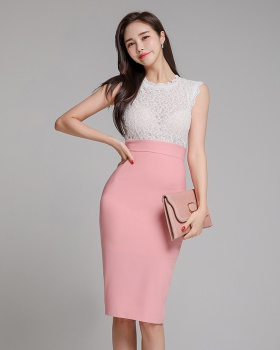 Splice temperament lace package hip summer slim dress