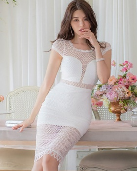 Hollow Korean style package hip temperament slim lace dress