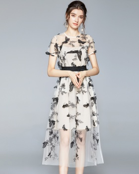 Ladies dress embroidery long dress for women