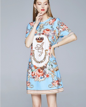 Fashion summer court style printing retro dress