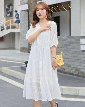 Court style Western style fat slim summer lady dress for women