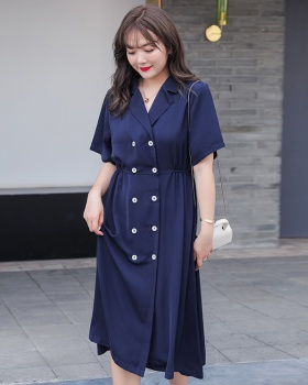 Fat double-breasted dress large yard short sleeve long dress