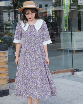 Slim fat pinched waist long large yard short sleeve dress