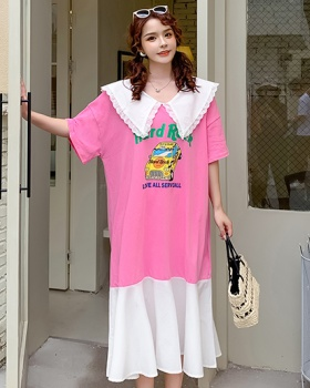 Korean style long fashion T-shirt lace loose summer dress