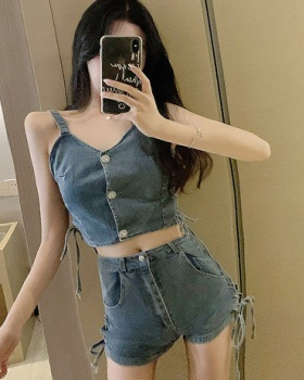 Sexy summer vest personality side bandage shorts a set