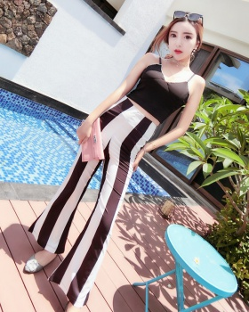 Fashion high waist stripe pants sling summer sexy vest a set