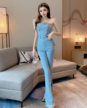 Double-breasted summer slim sexy wrapped chest jumpsuit