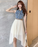 Lapel denim single-breasted summer splice dress
