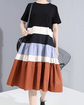 Retro mixed colors long summer dress for women