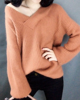 Loose V-neck thick tops autumn and winter pullover sweater