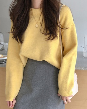 Korean style round neck autumn sweater for women