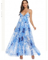 Fake backless dress printing chiffon long dress