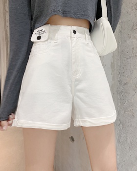 Summer crimping letters wide leg pants autumn all-match slim shorts