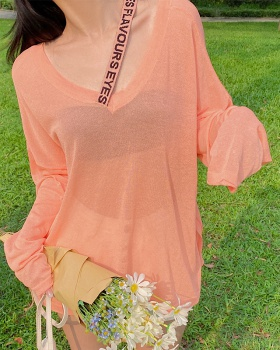 Long sleeve T-shirt all-match sun shirt for women