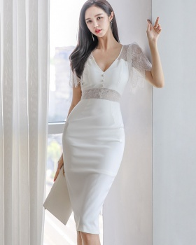Ladies package hip V-neck temperament lace splice dress