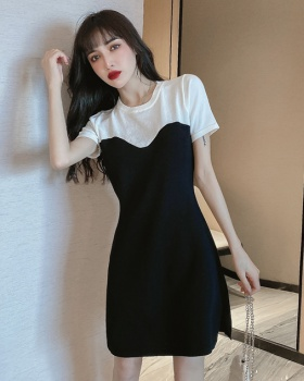 Pseudo-two pinched waist black-white sexy temperament dress