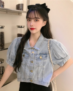Puff sleeve short loose coat denim thin tops for women