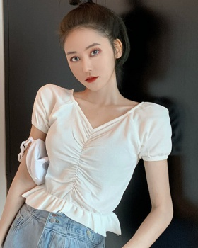 High waist short sweater square collar clavicle