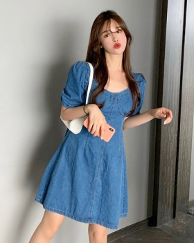 Bubble square collar short sleeve long dress for women