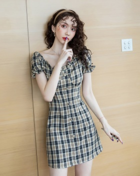 Plaid France style dress pinched waist clavicle