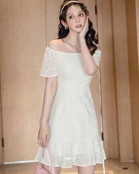 Lady white summer mermaid lace dress