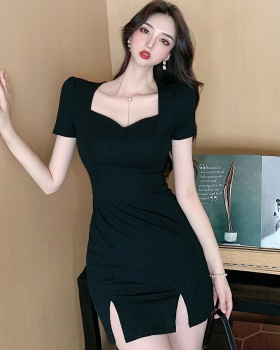 Slim summer T-back package hip square collar dress