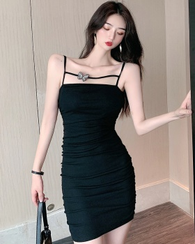 Fold sling package hip tight summer bottoming dress