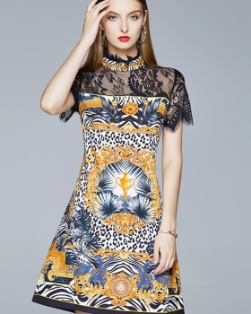 Summer fashion printing tender lace Cover belly splice dress
