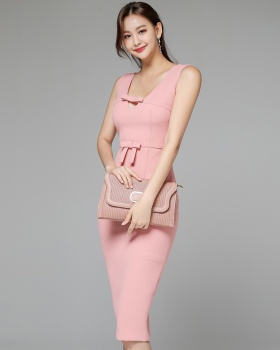 Summer hollow sexy splice bow package hip V-neck dress