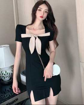 Bow square collar T-back Korean style summer dress