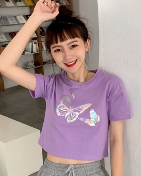 Printing reflective butterfly T-shirt for women