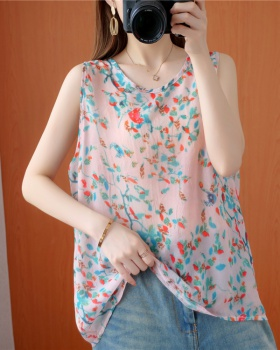 Fresh crinkling Casual T-shirt all-match colors vest