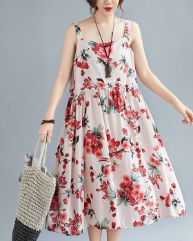 Sleeveless pink loose vest large yard flowers long dress