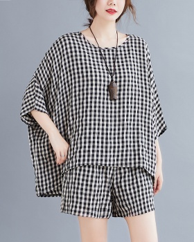 Loose short sleeve T-shirt plaid Casual tops a set