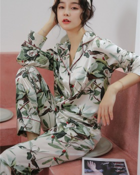 Lapel long sleeve Korean style printing pajamas a set for women