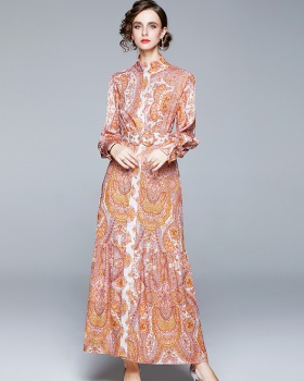 Printing long sleeve loose totem dress for women