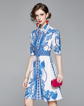 Pinched waist shirt printing dress for women