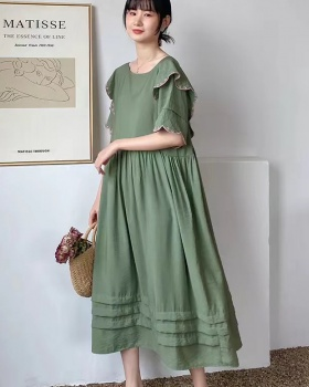 Summer fold wood ear slim loose long embroidery dress
