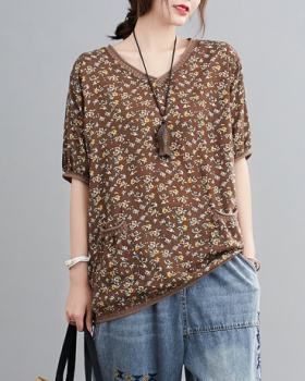 Splice printing pocket T-shirt floral cotton linen tops