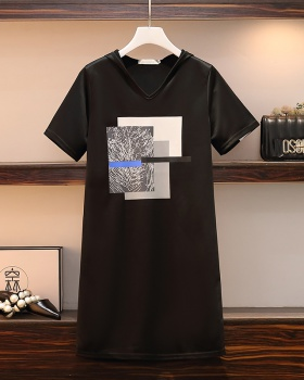 Loose slim dress Casual short sleeve T-shirt for women