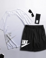 Wicking round neck T-shirt sports shorts 2pcs set for men