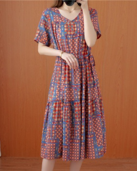 Large yard loose short sleeve long dress for women