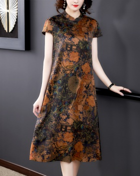 Silk middle-aged long summer dress for women