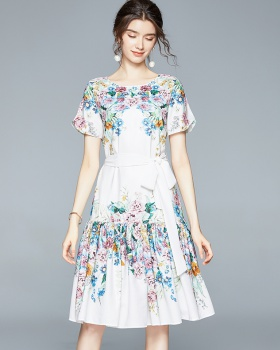 Summer temperament France style printing slim dress