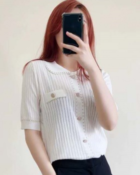 Lapel single-breasted tops summer short sleeve sweater