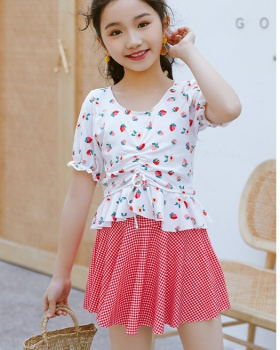 Separate swim swimwear vacation child skirt 2pcs set