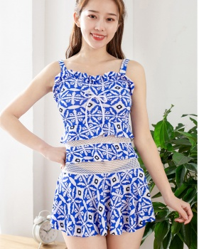 Conservatism separate swimwear slim gather skirt for women