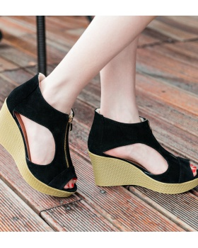 Broadcloth European style fish mouth sandals for women